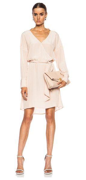 CALVIN RUCKER Emotional Rescue Poly Dress in blush - 100% poly. Made in USA. Unlined. Hidden button front...