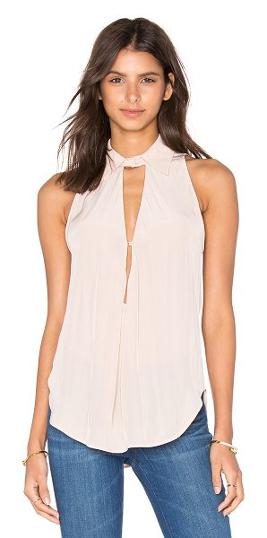 Calvin Rucker Rather B Tank in blush - Silk blend. Dry clean only. Neckline keyhole with button...