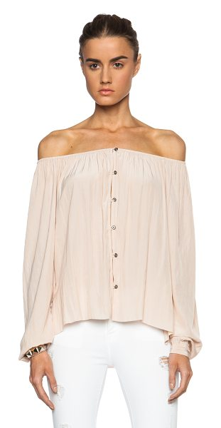 Calvin Rucker Santa monica poly top in neutrals - 100% poly.  Made in USA.  Button front closures. ...