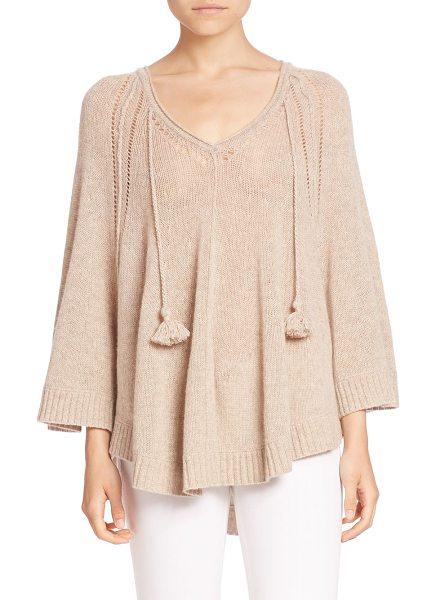 Calypso St. Barth nooyi cashmere poncho in dark oatmeal heather - Plush cashmere poncho with tassel detail.V-neck. Long...