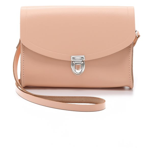 Cambridge Satchel Push lock bag in oyster - A small leather Cambridge Satchel cross body bag with a...