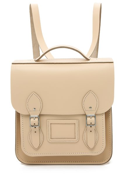 Cambridge Satchel Small portrait backpack in cream crocus