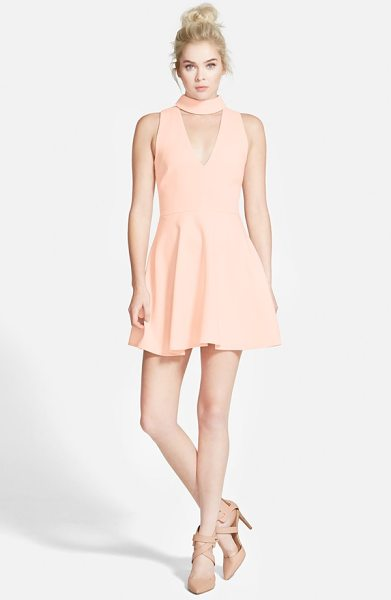 Cameo begin again skater dress in dusty pink - A plunging neckline accented with a cute band collar...