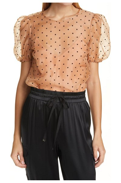 CAMI NYC bethany puff sleeve mesh dot bodysuit in pink