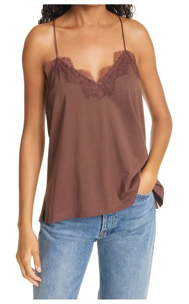 CAMI NYC lace racerback jersey camisole in brown