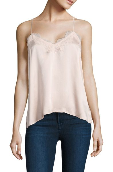 CAMI NYC racer silk charmeuse camisole - Slinky silk camisole with scalloped eyelash lace trim....