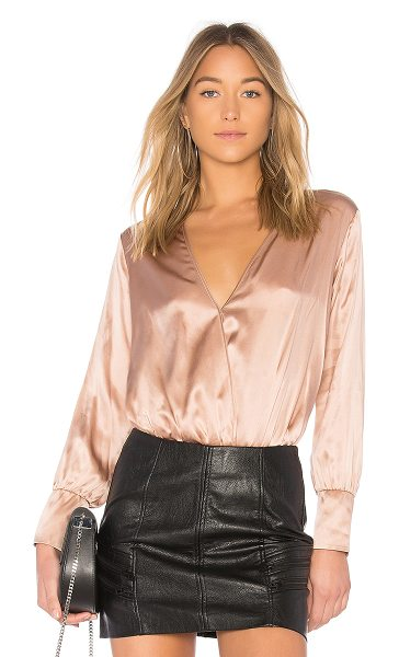 CAMI NYC The Allison Bodysuit in blush - 100% silk. Dry clean only. Surplice front with snap...