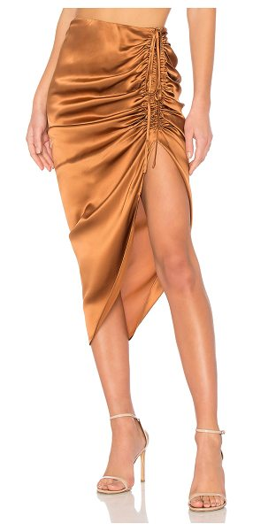 "CAMI NYC The Amanda Skirt in metallic bronze - ""100% silk. Dry clean only. Unlined. Ruched front with..."