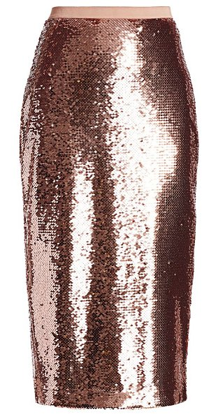 CAMI NYC the connie sequin pencil skirt in rose dust