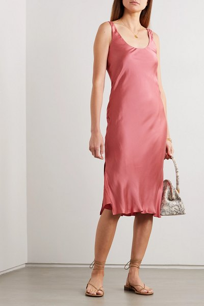 CAMI NYC the evelyn open-back silk-blend charmeuse midi dress in coral