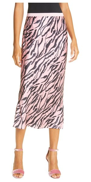 CAMI NYC the jessica prism zebra stripe silk midi skirt in pink