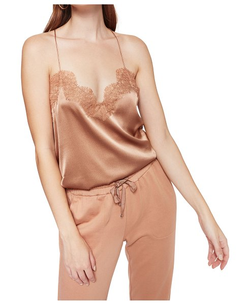 CAMI NYC The Racer Silk Charmeuse Camisole w/ Lace in tawny