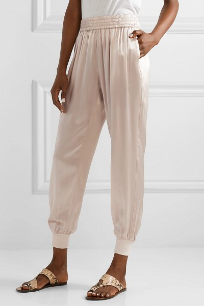 CAMI NYC the sadie silk-charmeuse track pants in sand