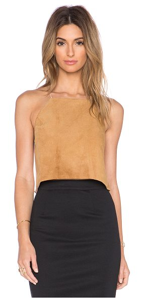 CAMI NYC The suede crop top in tan - Self: Genuine leatherCombo: Silk blend. Dry clean only....