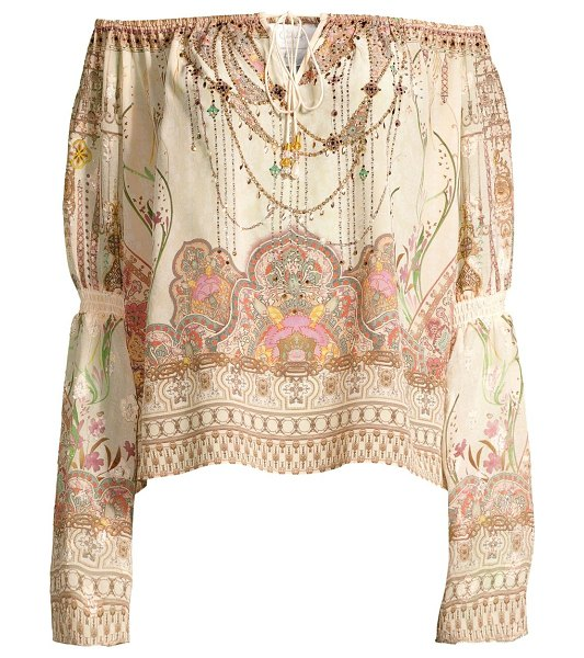 Camilla la fleur libertine off-the-shoulder silk peasant blouse in golden age
