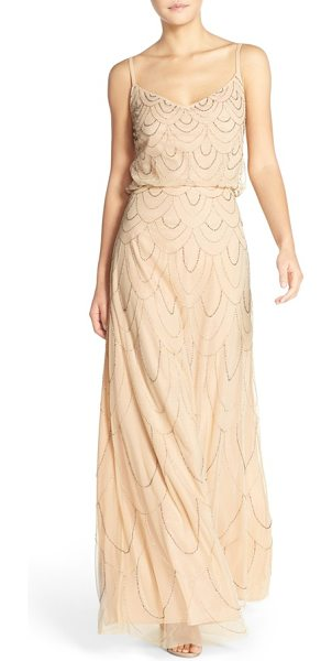 Candela marseille beaded blouson gown in blush - Dripping with Art Deco charm, an ethereal webbing of...