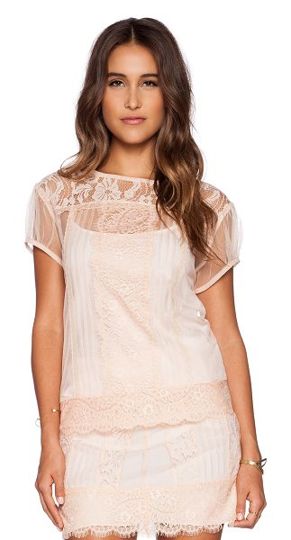 Candela Mulan top in blush - Nylon blend. Hand wash cold. Lace overlay. CAND-WS17....