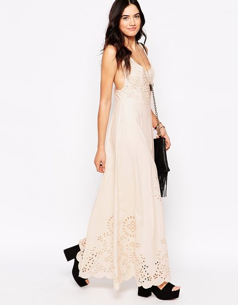 Candela Candela dream maxi dress with laser cut outs in blush - Evening dress by Candela Soft, woven cotton Scoop...