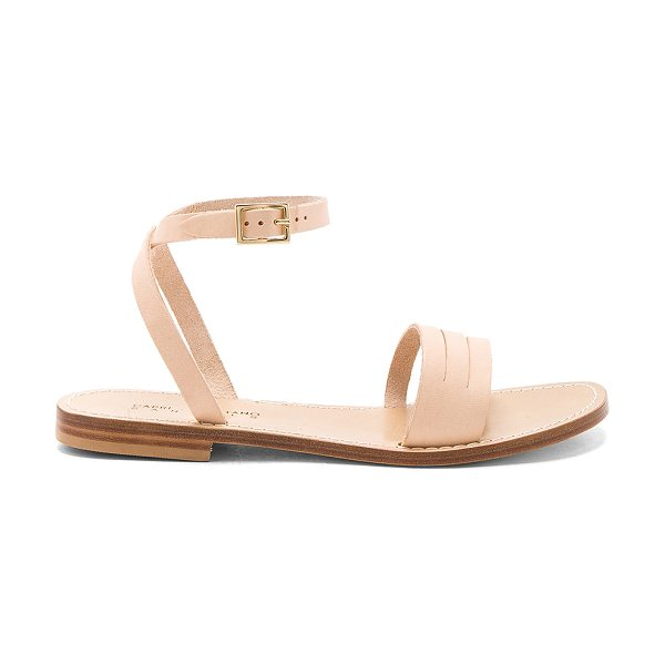 Capri Positano Enea Sandal in beige - Leather upper and sole. Wrap ankle with buckle closure....