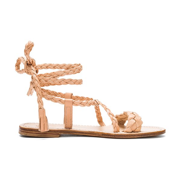 Capri Positano Faito Sandal in beige - Braided leather upper with leather sole. Lace-up front...