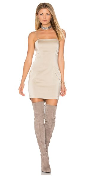 """Capulet Amber Bodycon Dress in beige - """"Poly blend. Dry clean only. Unlined. Adjustable..."""
