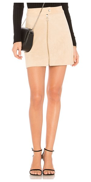 "Capulet Nadya Mini Skirt in cream - ""Self: 100% leatherLining: 100% poly. Dry clean only...."