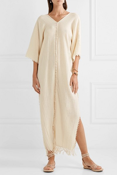 Caravana saas fringed crinkled cotton-gauze kaftan in ecru