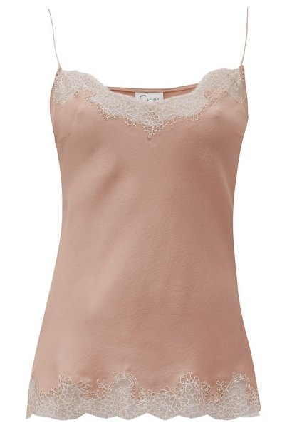 Carine Gilson lace-trimmed silk cami top in pink