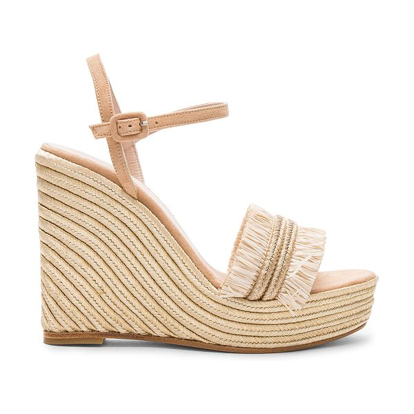Carmelinas Mia Wedge in metallic gold - Suede upper with leather sole. Ankle strap with buckle...