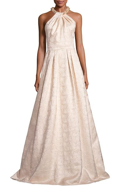 Carmen Marc Valvo beaded jacquard halter gown in gold - Romantic jacquard gown with beaded neckline. Halterneck....