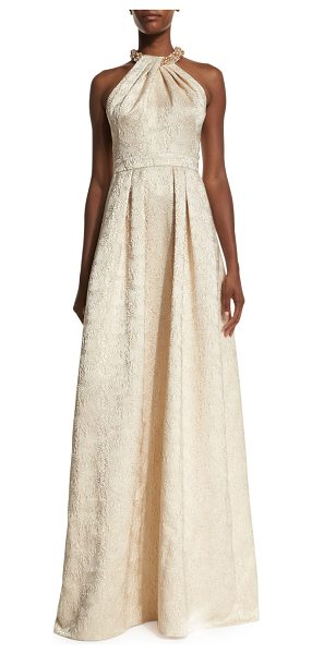 Carmen Marc Valvo Beaded-Neck Jacquard Ball Gown in gold - Carmen Marc Valvo jacquard gown. Beaded Grecian...