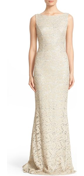 Carmen Marc Valvo Couture sequin lace column gown in beige - Shimmering silvery sequins illuminate the lovely...