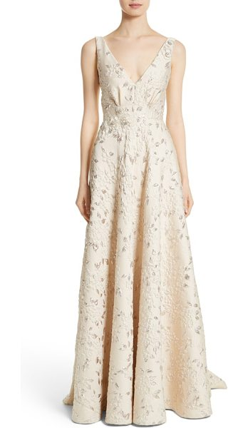 Carmen Marc Valvo Couture reembroidered cloque gown in champagne - Sumptuous cloque fabric patterned in a floral motif,...