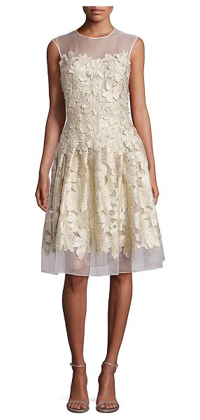 Carmen Marc Valvo floral applique cocktail dress in gold - Gleaming floral appliques shape organza cocktail dress....