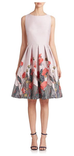 Carmen Marc Valvo Floral-print pleated cocktail dress in pink-multi - A painterly abstract floral print blossoms from the hem...