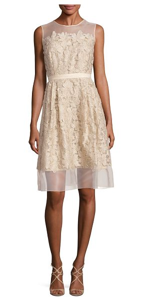 Carmen Marc Valvo illusion lace applique dress in gold - Feminine lace appliques elevate A-line dress. Illusion...