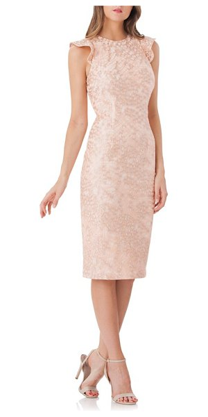 CARMEN MARC VALVO INFUSION back cutout lace sheath dress in blush/ sil - Fluttery sleeves and a blade-baring cutout add to the...