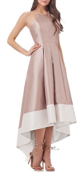 Carmen Marc Valvo Infusion embellished colorblock halter gown in gold/ ivory - A contemporary take on classic eveningwear, this...