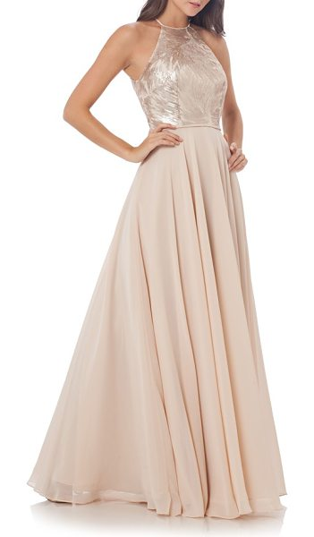 Carmen Marc Valvo Infusion gown in champagne - Feathery sequin patters shimmer around the...