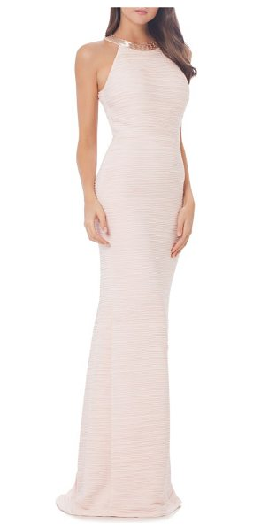 Carmen Marc Valvo Infusion mermaid gown in blush - Scintillating beads highlight the intricate pleats of...