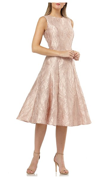 Carmen Marc Valvo Infusion Sleeveless Fit-&-Flare Brocade Cocktail Dress in dusty rose