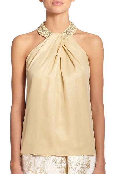 Carmen Marc Valvo Lamé halter top in gold - An elegant draped halter style in shimmering lame is...