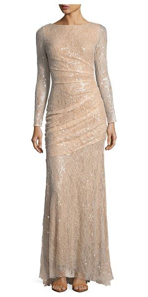 Carmen Marc Valvo Long-Sleeve Lace Sequin Evening Gown in nude - Carmen Marc Valvo evening gown in sequined lace with...