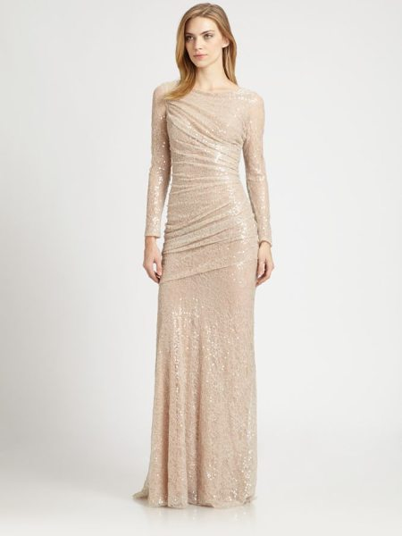 Carmen Marc Valvo sequined lace gown in nude - Dazzling allover sequins lend glamorous sparkle to this...