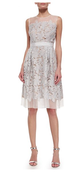 Carmen Marc Valvo Sleeveless Lace Fit & Flare Cocktail Dress in silver/nude - Carmen Marc Valvo cocktail dress with lace applique over...