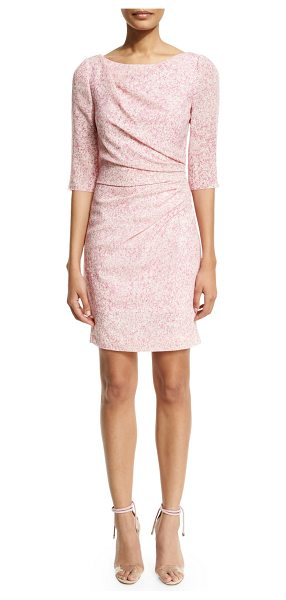Carolina Herrera 3/4-Sleeve Gathered Sheath Dress in pink multi
