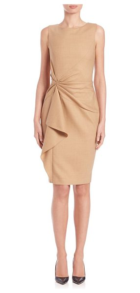Carolina Herrera Day collection gathered-front dress in camel - Elegant sheath with gathered frontRound...
