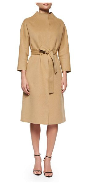 CAROLINA HERRERA Double-Faced Belted Wrap Coat - Carolina Herrera double-faced wool-blend wrap coat. Mock...