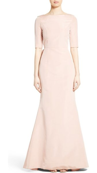 Carolina Herrera draped v-back gown in blush - Fashioned from rich silk faille, a statuesque gown is...
