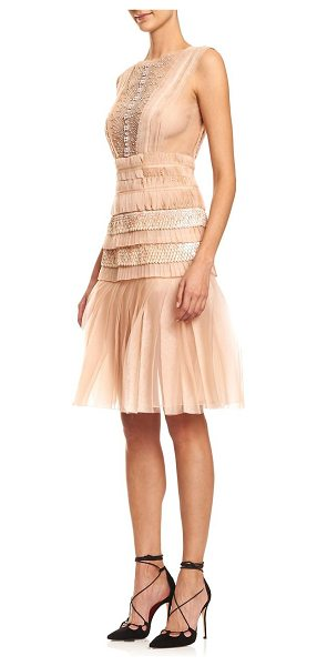 Carolina Herrera embellished silk & tulle cocktail dress in powder pink - Layers of silk and tulle with fanciful embellishment....